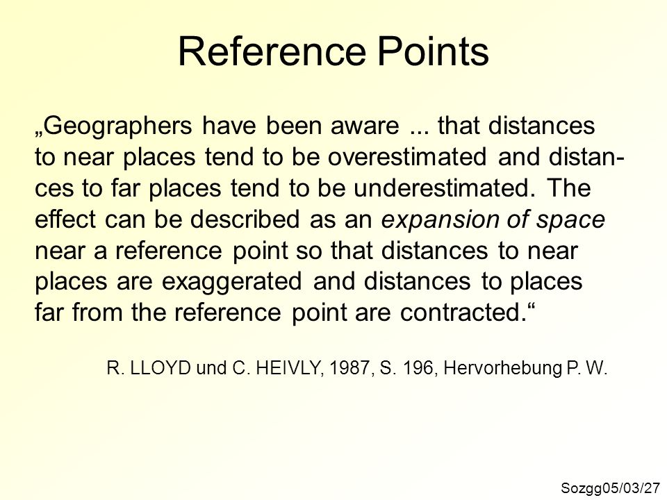 "Reference Points ""Geographers have been aware ... that distances"