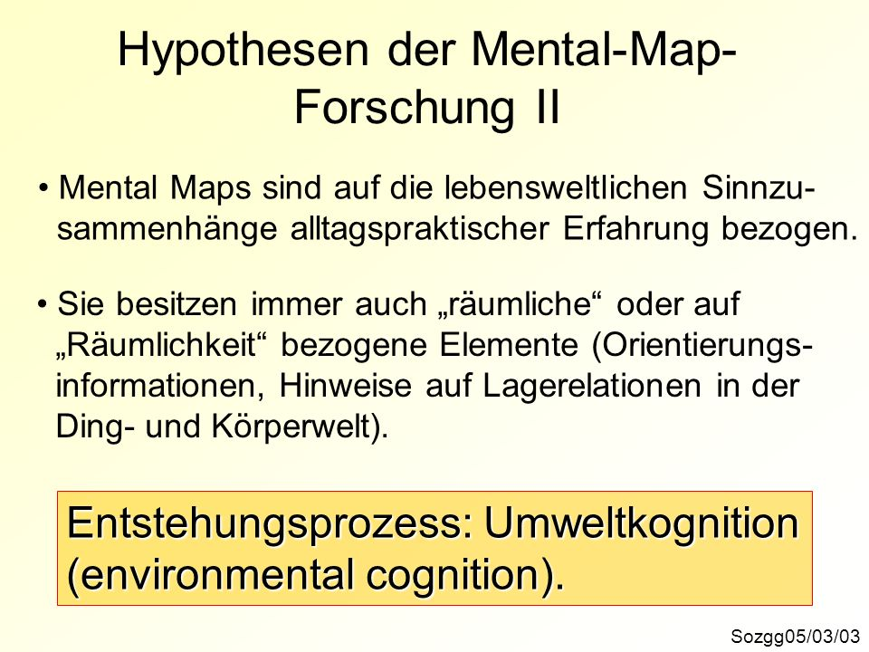 Hypothesen der Mental-Map-Forschung II