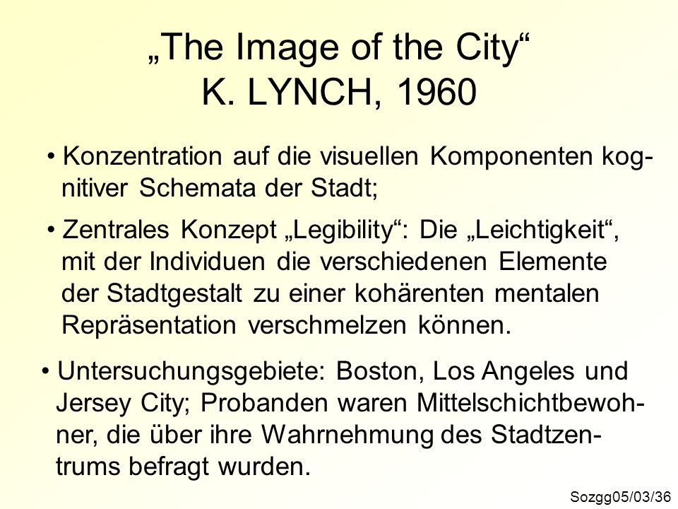 """The Image of the City K. LYNCH, 1960"
