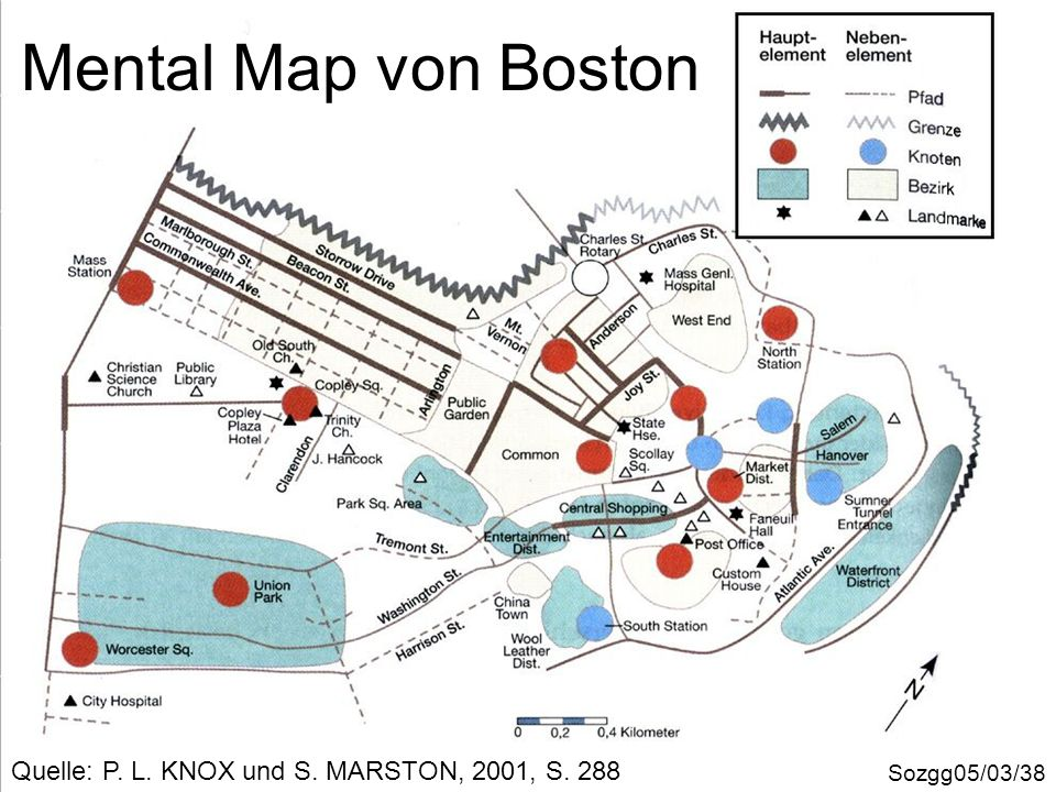 Mental Map von Boston Quelle: P. L. KNOX und S. MARSTON, 2001, S. 288