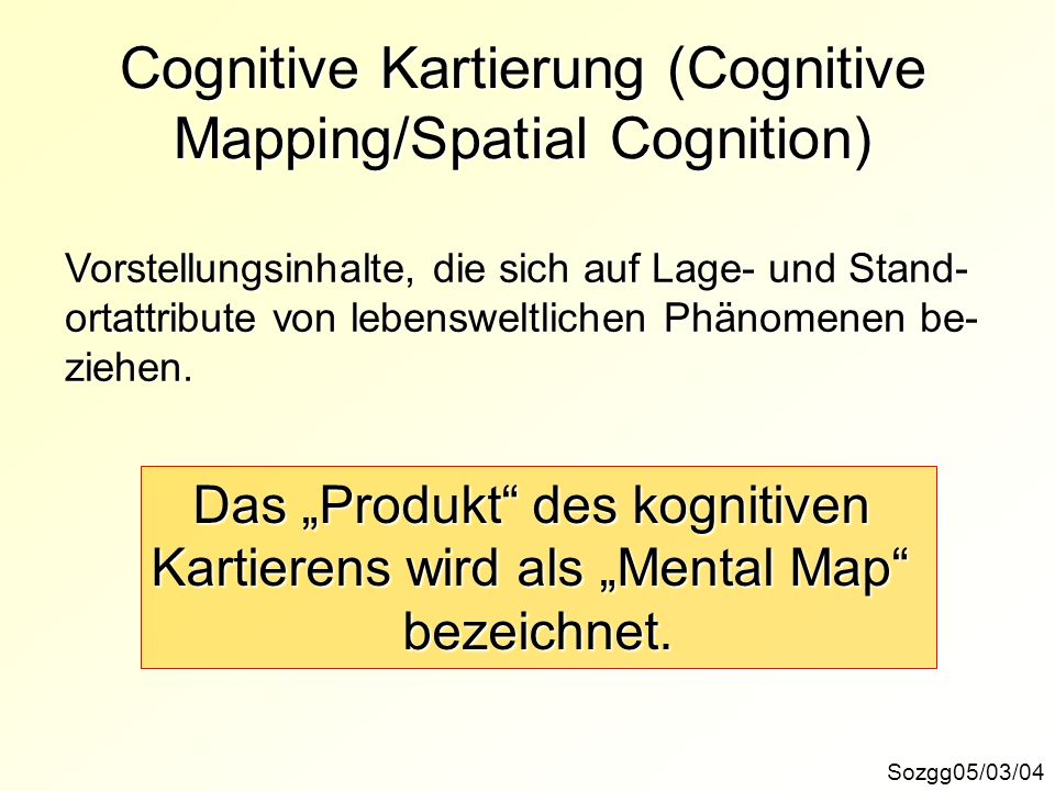 Cognitive Kartierung (Cognitive Mapping/Spatial Cognition)