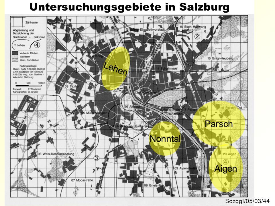 Untersuchungsgebiete in Salzburg