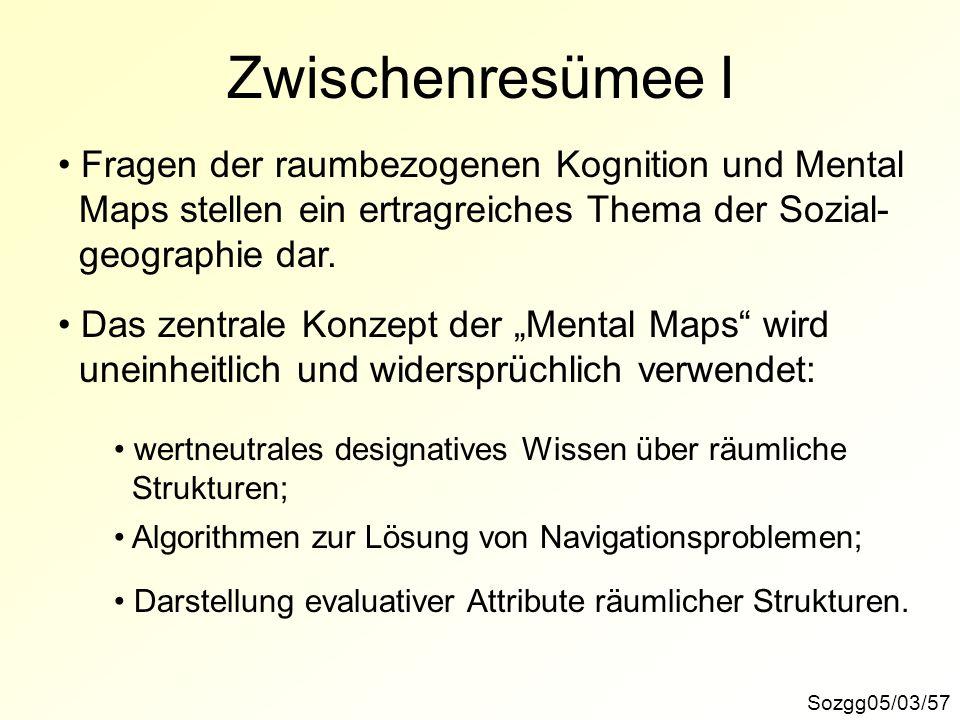 Zwischenresümee I Fragen der raumbezogenen Kognition und Mental