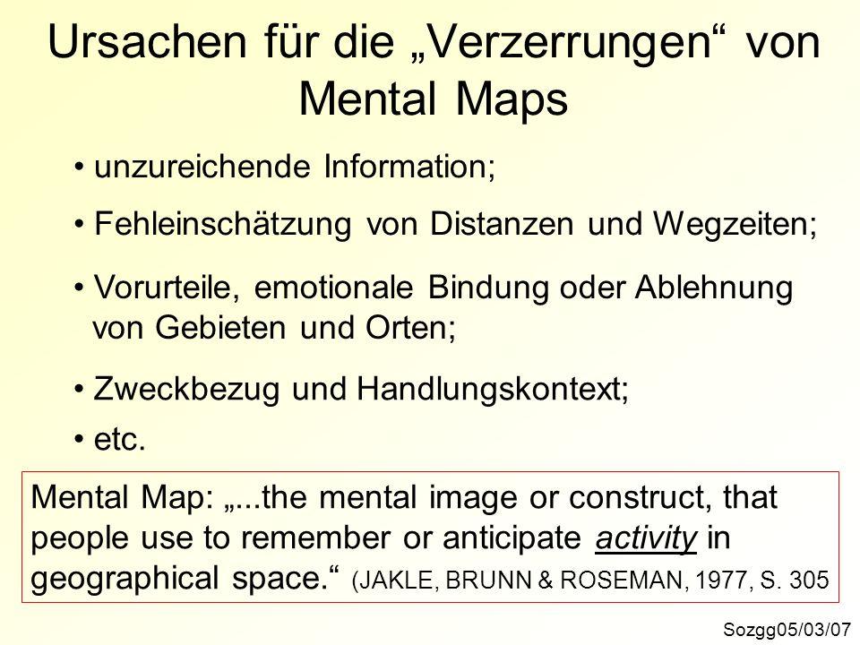 """Ursachen für die """"Verzerrungen von Mental Maps"""