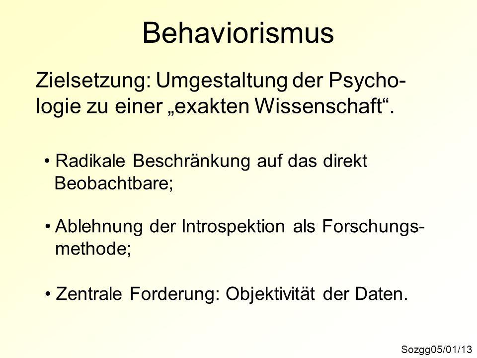 Behaviorismus Zielsetzung: Umgestaltung der Psycho-