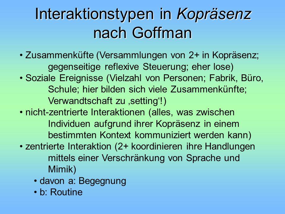 Interaktionstypen in Kopräsenz nach Goffman