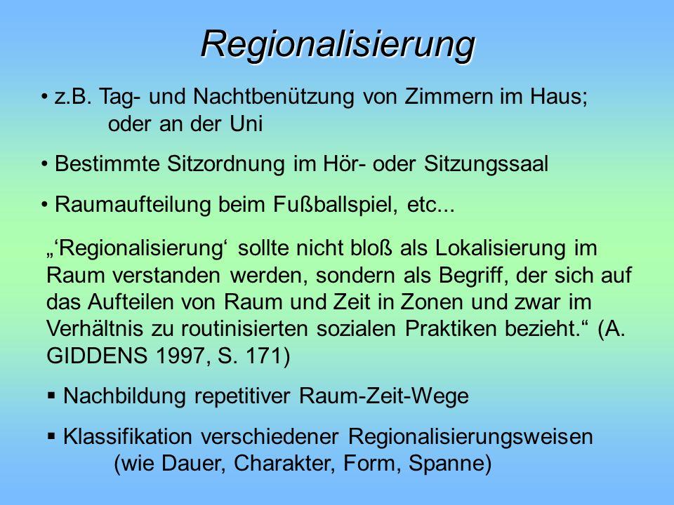 Regionalisierung z.B. Tag- und Nachtbenützung von Zimmern im Haus; oder an der Uni. Bestimmte Sitzordnung im Hör- oder Sitzungssaal.