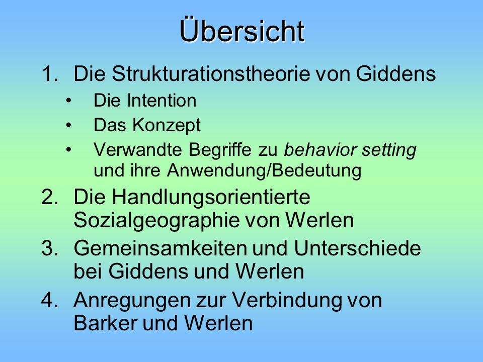 Übersicht Die Strukturationstheorie von Giddens