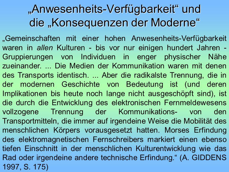 """""""Anwesenheits-Verfügbarkeit und die """"Konsequenzen der Moderne"""