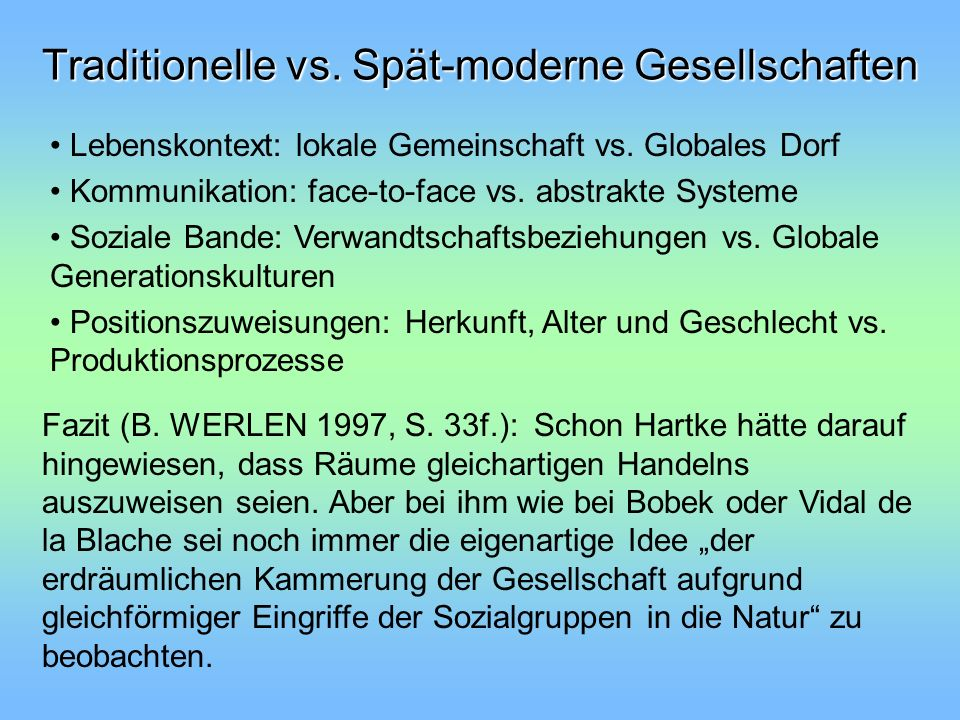 Traditionelle vs. Spät-moderne Gesellschaften