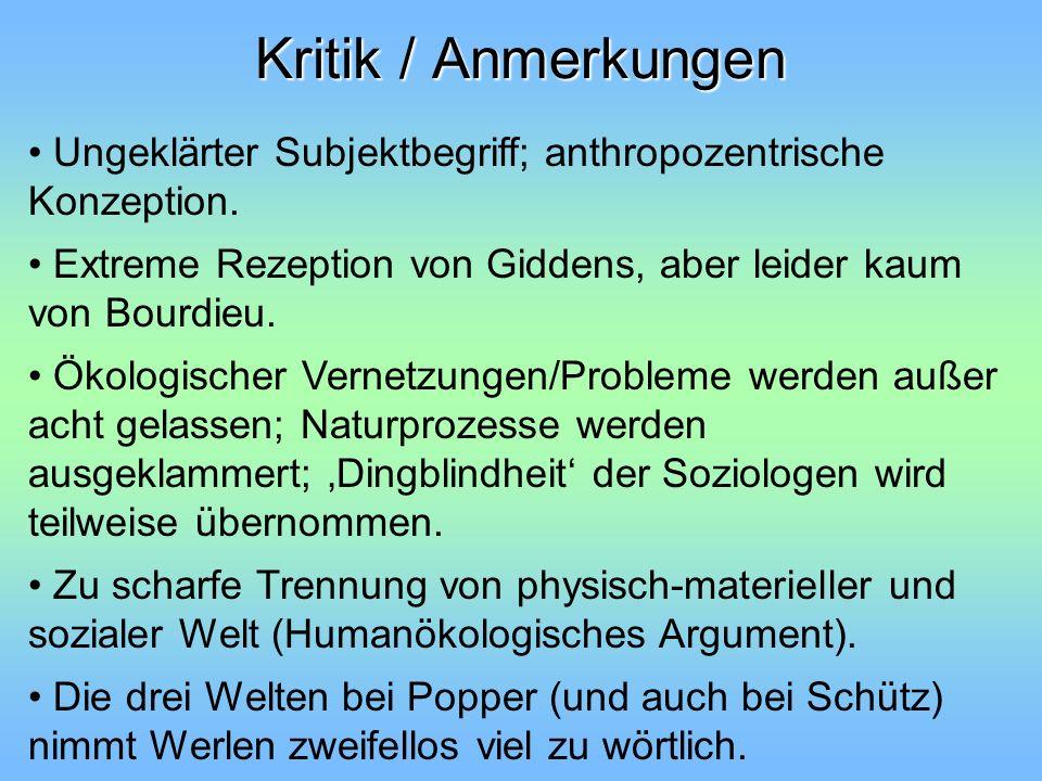 Kritik / Anmerkungen Ungeklärter Subjektbegriff; anthropozentrische Konzeption. Extreme Rezeption von Giddens, aber leider kaum von Bourdieu.