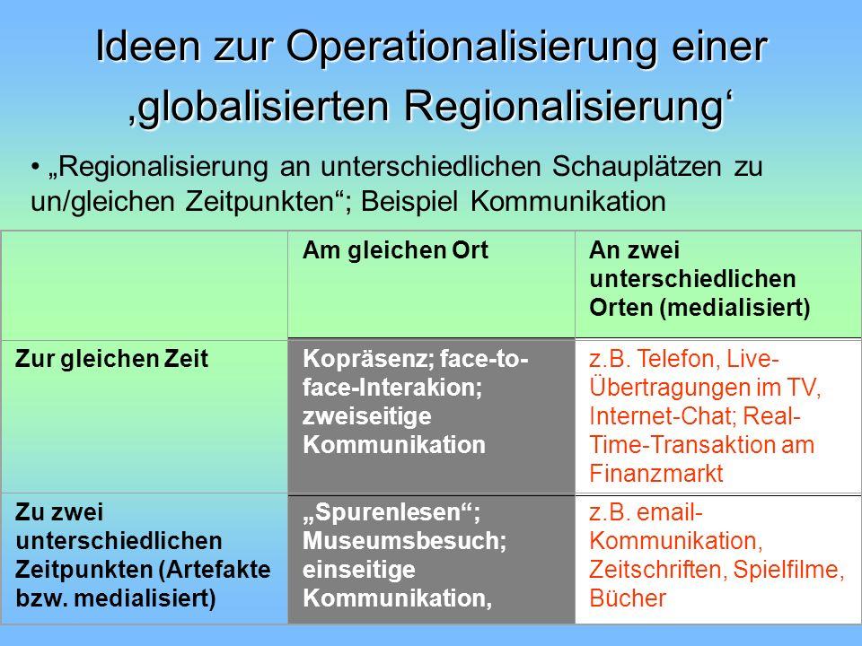 Ideen zur Operationalisierung einer 'globalisierten Regionalisierung'