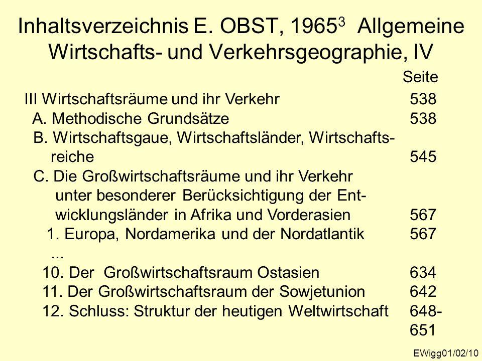 Inhaltsverzeichnis E. OBST, 19653 Allgemeine Wirtschafts- und Verkehrsgeographie, IV