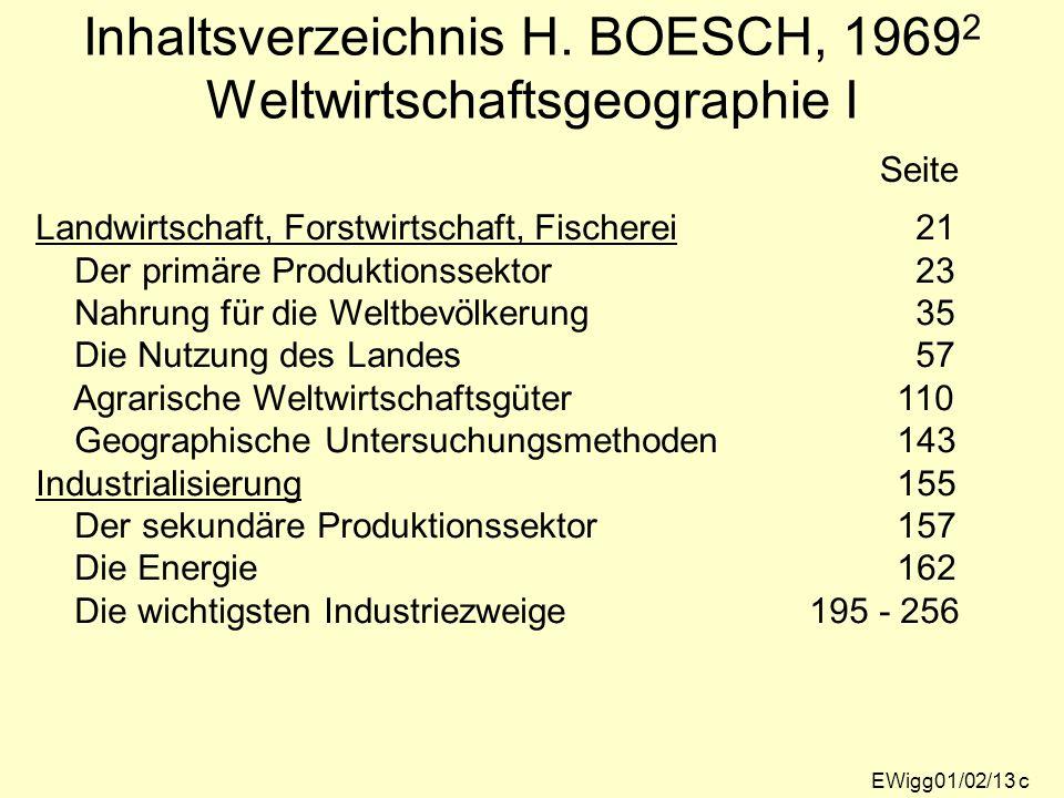 Inhaltsverzeichnis H. BOESCH, 19692 Weltwirtschaftsgeographie I