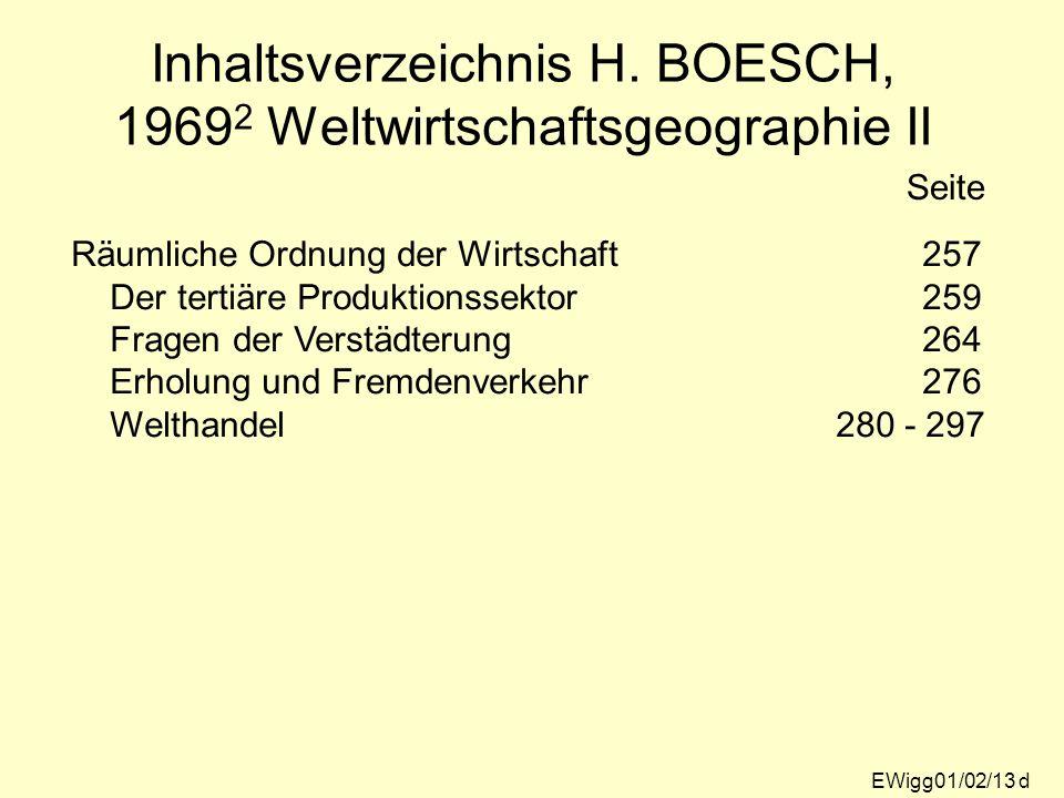 Inhaltsverzeichnis H. BOESCH, 19692 Weltwirtschaftsgeographie II