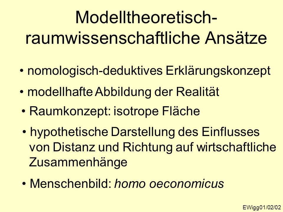 Modelltheoretisch-raumwissenschaftliche Ansätze