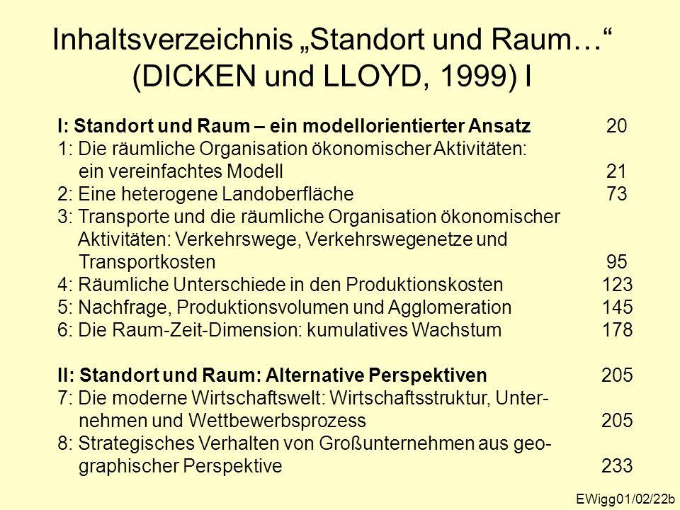 """Inhaltsverzeichnis """"Standort und Raum… (DICKEN und LLOYD, 1999) I"""