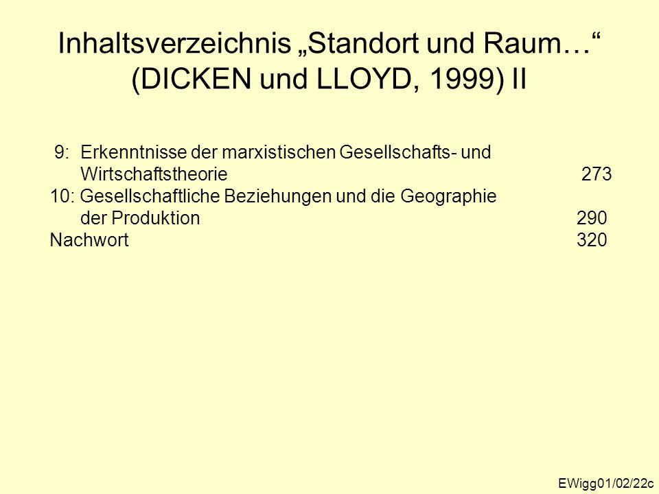"""Inhaltsverzeichnis """"Standort und Raum… (DICKEN und LLOYD, 1999) II"""