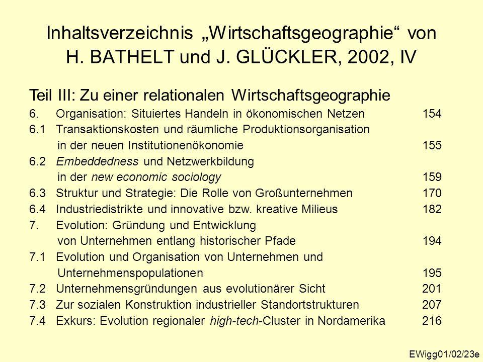 """Inhaltsverzeichnis """"Wirtschaftsgeographie von H. BATHELT und J"""