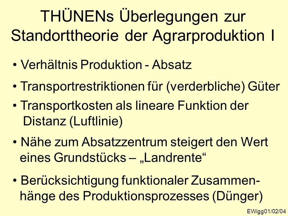 THÜNENs Überlegungen zur Standorttheorie der Agrarproduktion I