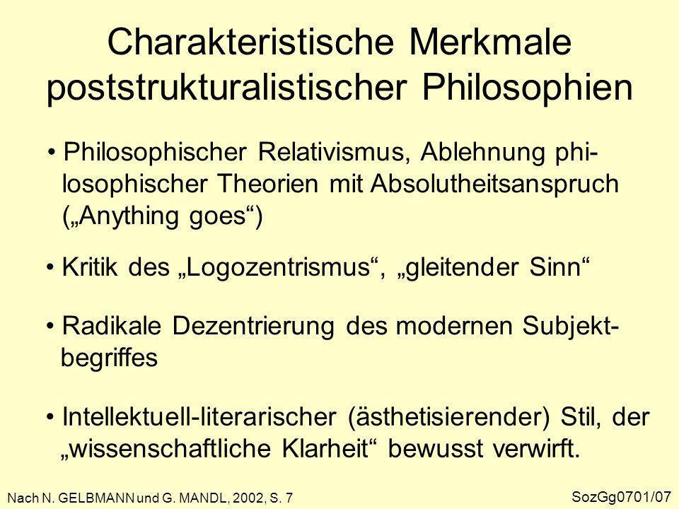 Charakteristische Merkmale poststrukturalistischer Philosophien