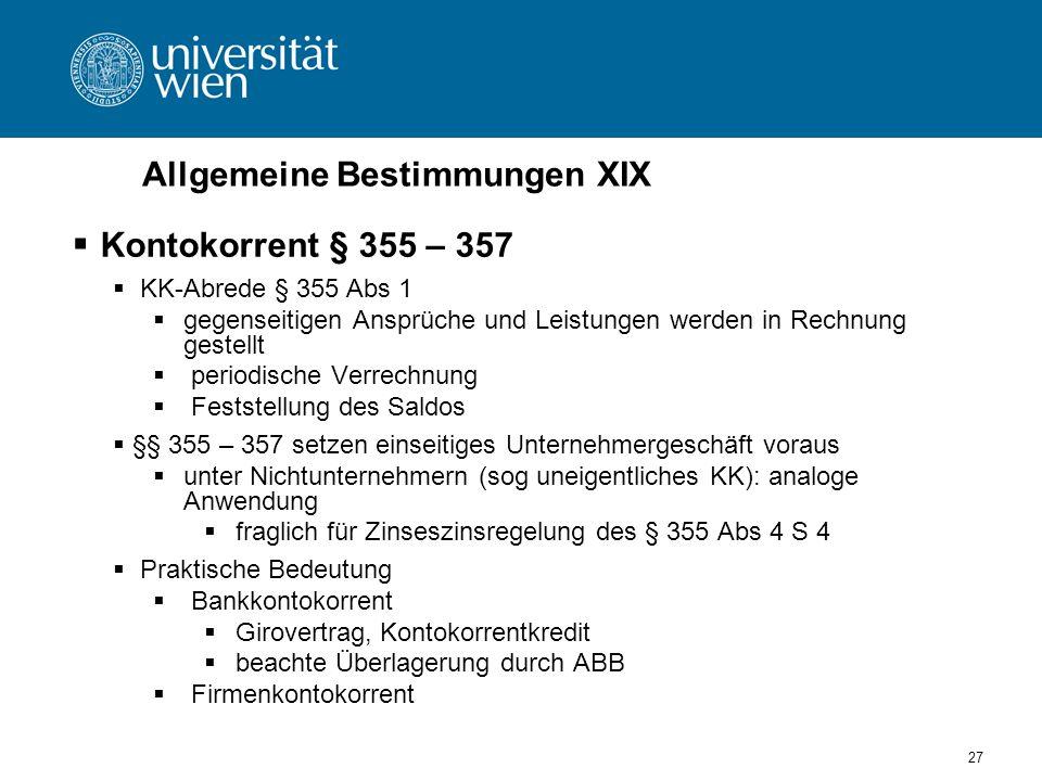 Allgemeine Bestimmungen XIX
