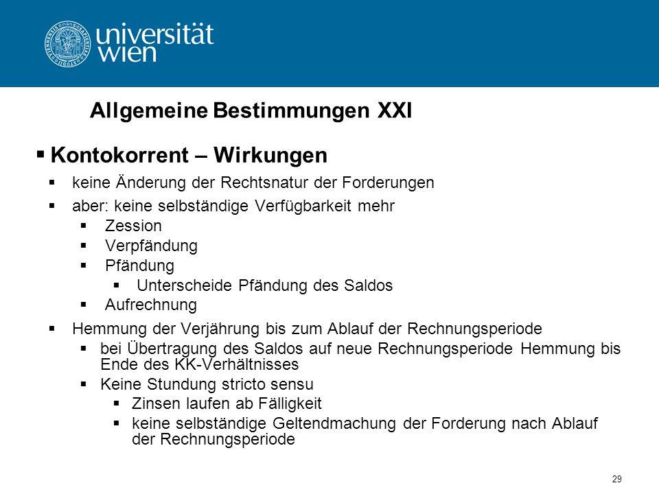 Allgemeine Bestimmungen XXI