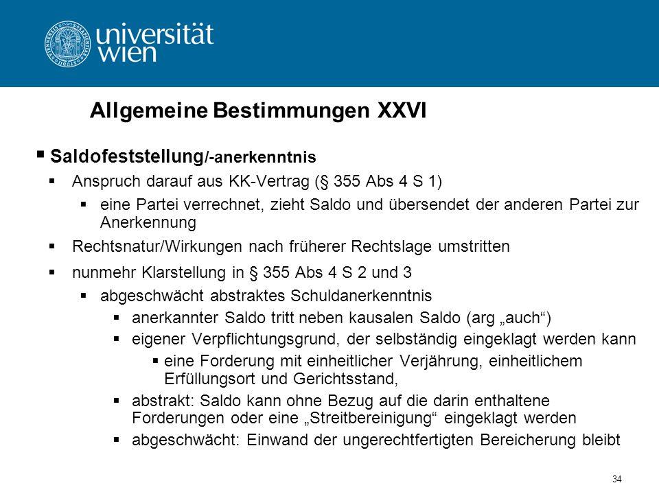 Allgemeine Bestimmungen XXVI