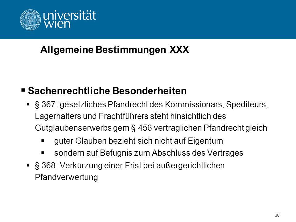 Allgemeine Bestimmungen XXX