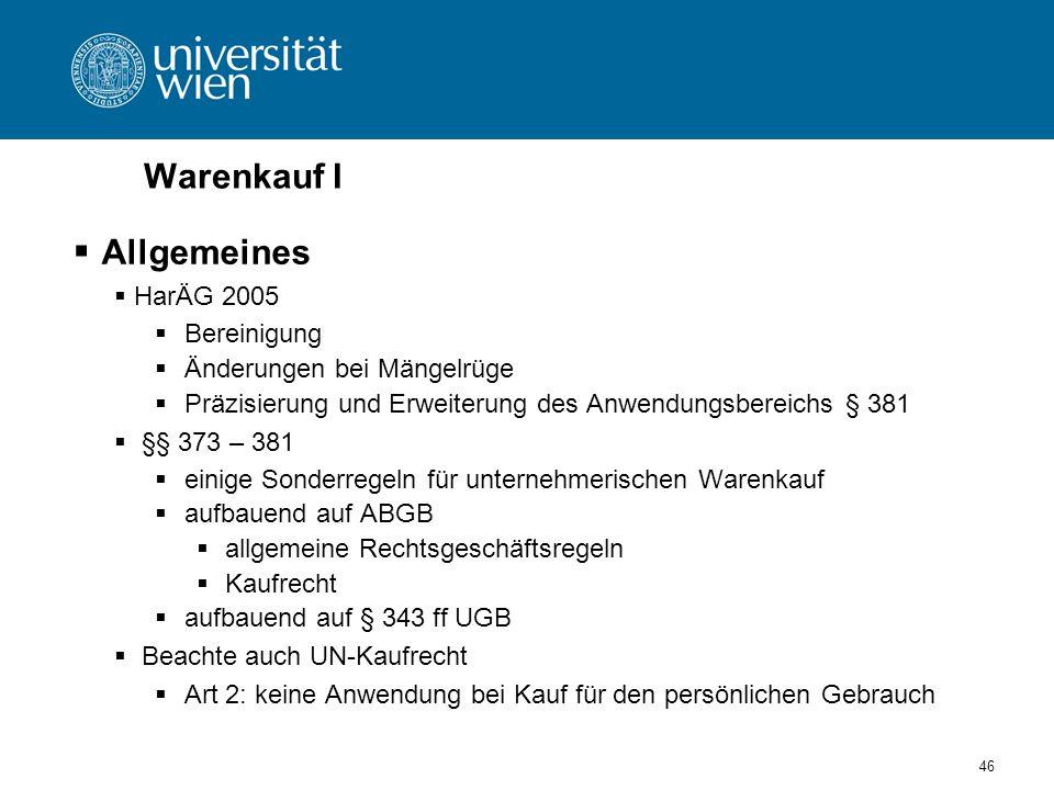 Warenkauf I Allgemeines HarÄG 2005 Bereinigung