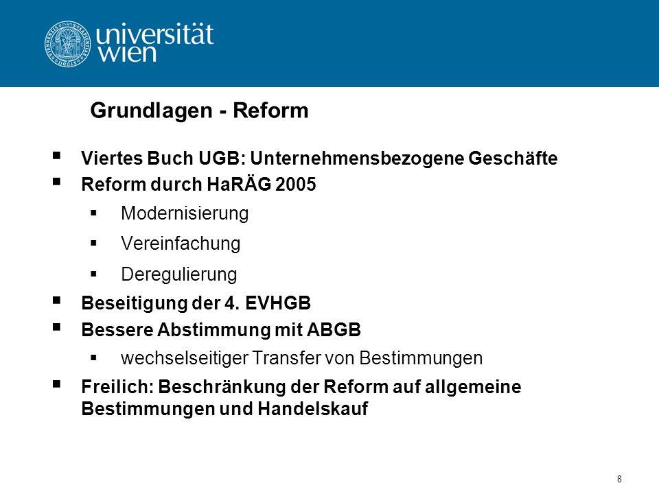 Grundlagen - Reform Viertes Buch UGB: Unternehmensbezogene Geschäfte