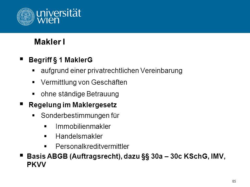 Makler I Begriff § 1 MaklerG