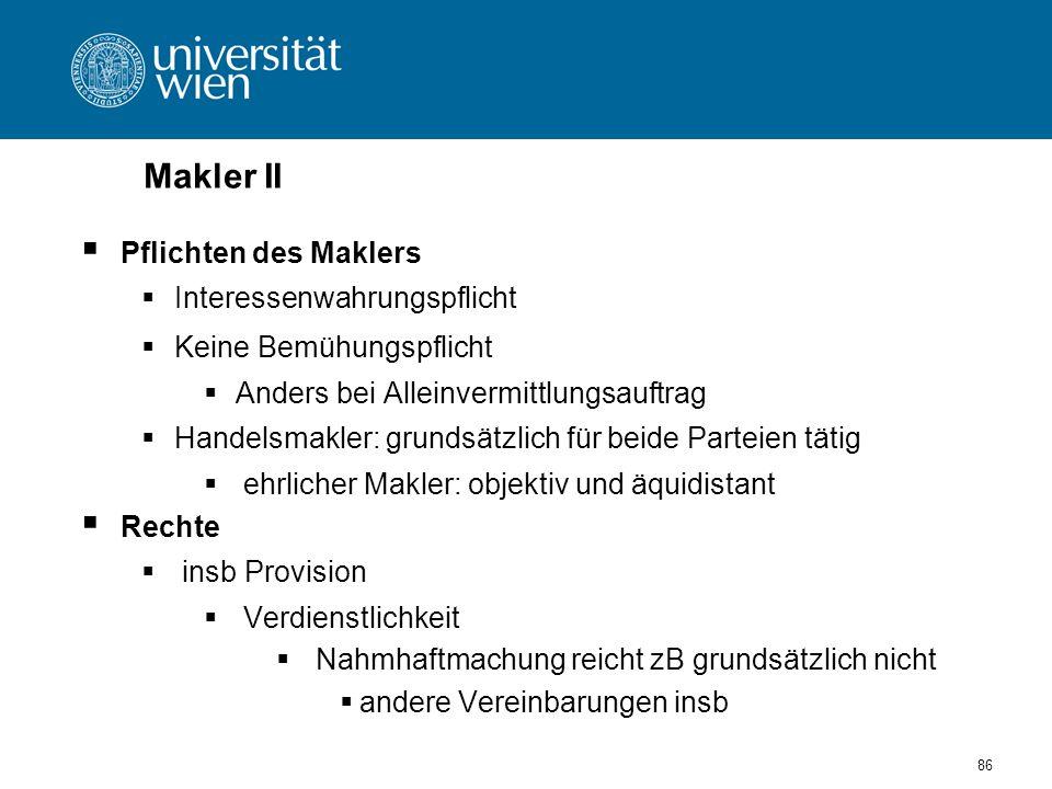 Makler II Pflichten des Maklers Interessenwahrungspflicht