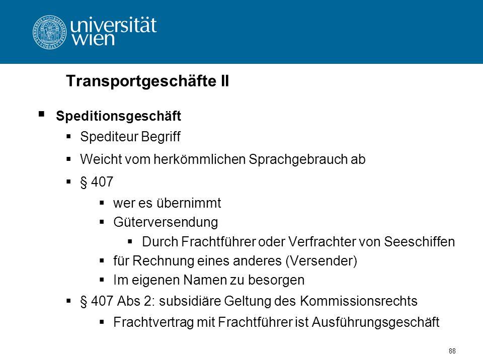 Transportgeschäfte II