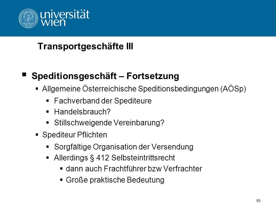 Transportgeschäfte III