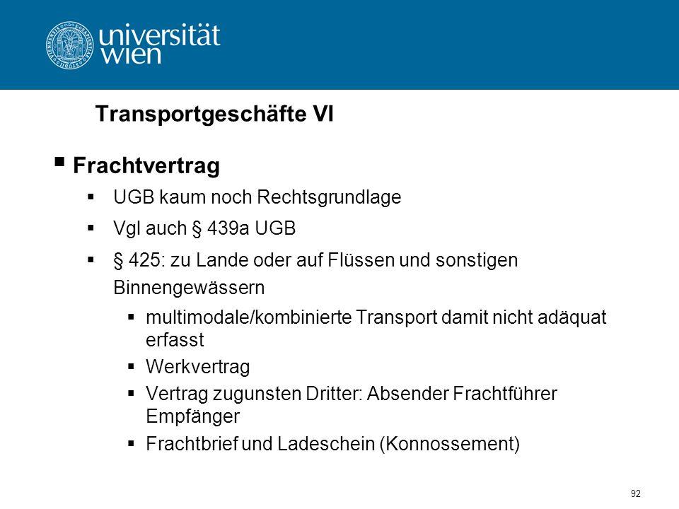 Transportgeschäfte VI