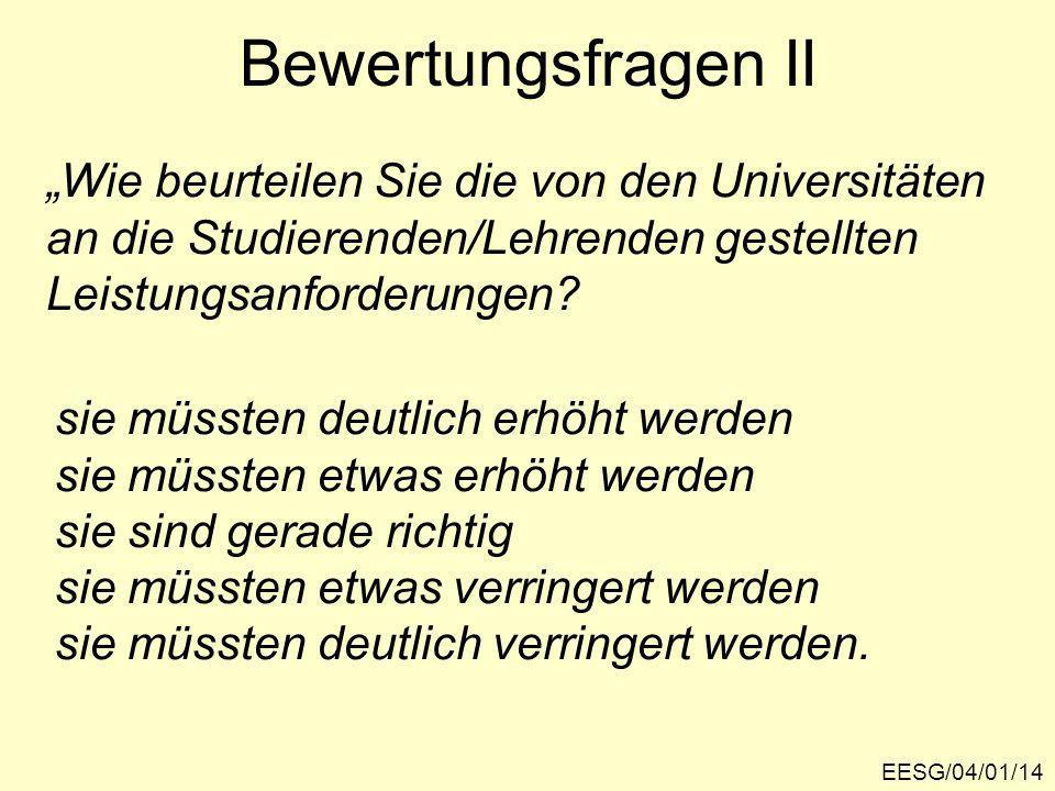 """Bewertungsfragen II """"Wie beurteilen Sie die von den Universitäten"""
