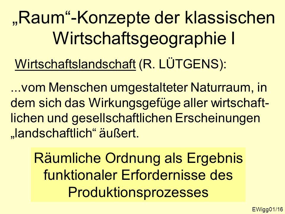 """""""Raum -Konzepte der klassischen Wirtschaftsgeographie I"""