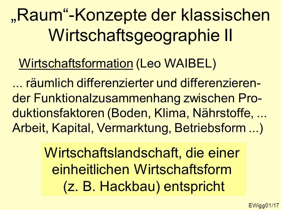 """""""Raum -Konzepte der klassischen Wirtschaftsgeographie II"""