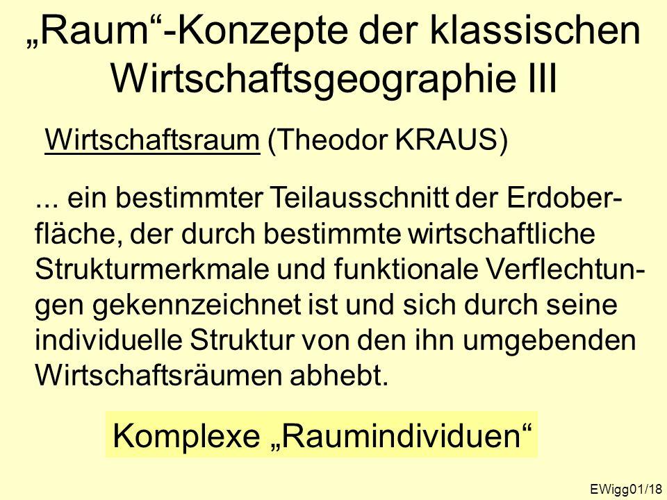 """""""Raum -Konzepte der klassischen Wirtschaftsgeographie III"""