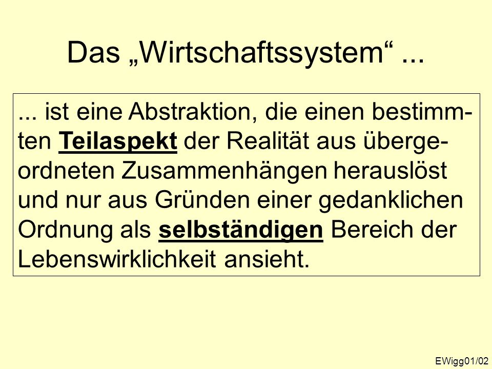"""Das """"Wirtschaftssystem ..."""