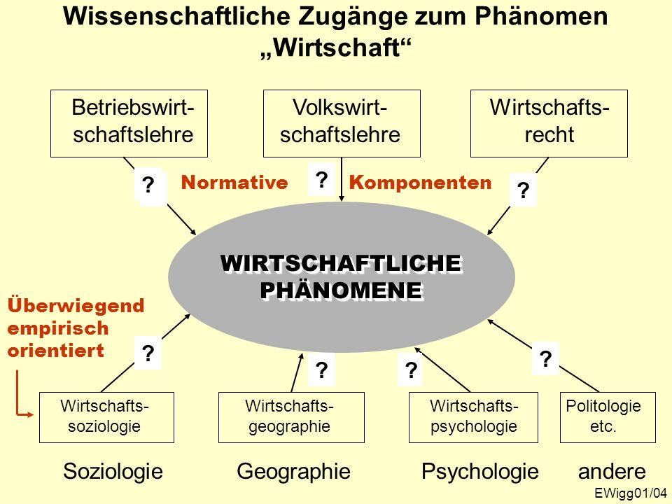 """Wissenschaftliche Zugänge zum Phänomen """"Wirtschaft"""