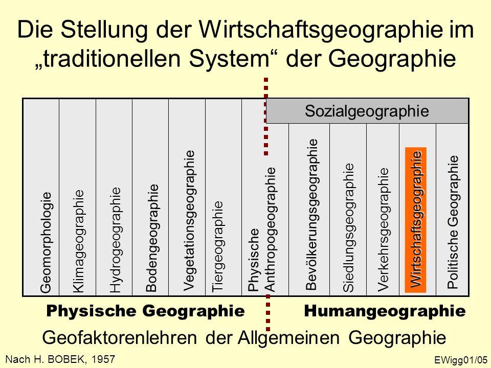 """Die Stellung der Wirtschaftsgeographie im """"traditionellen System der Geographie"""