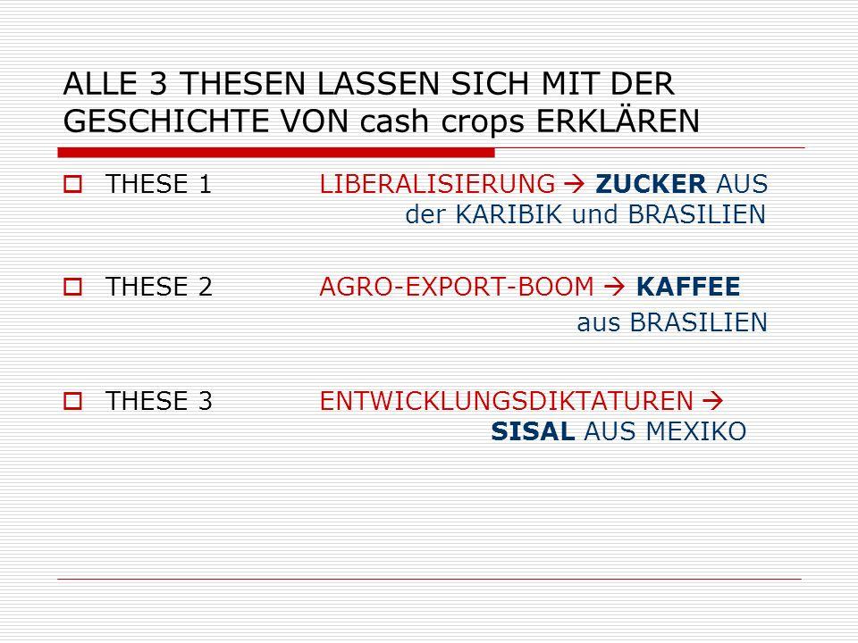 ALLE 3 THESEN LASSEN SICH MIT DER GESCHICHTE VON cash crops ERKLÄREN