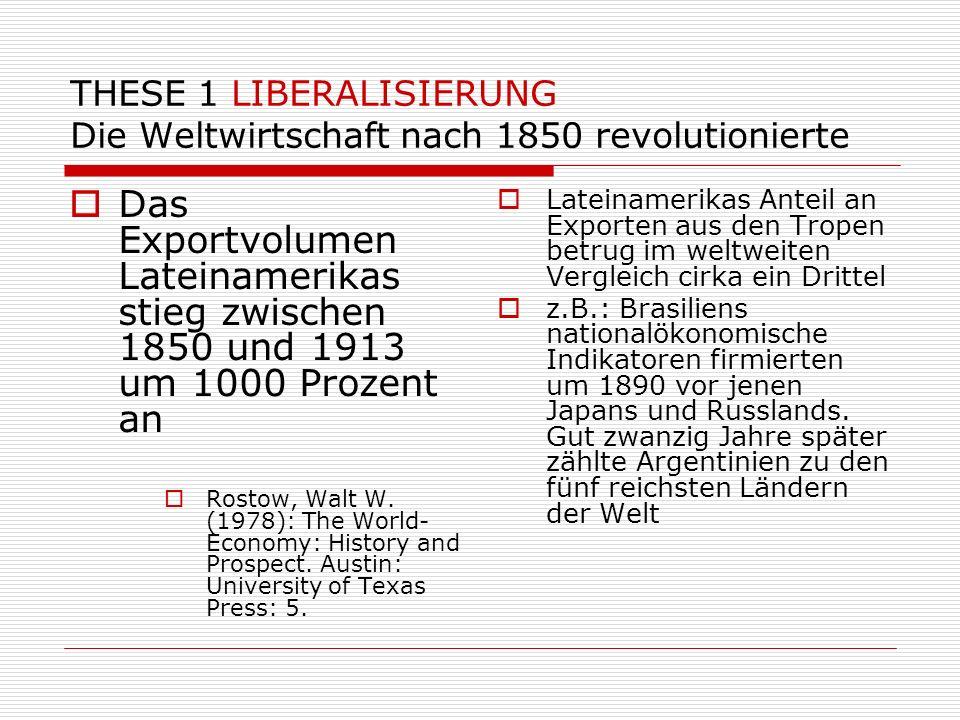 THESE 1 LIBERALISIERUNG Die Weltwirtschaft nach 1850 revolutionierte