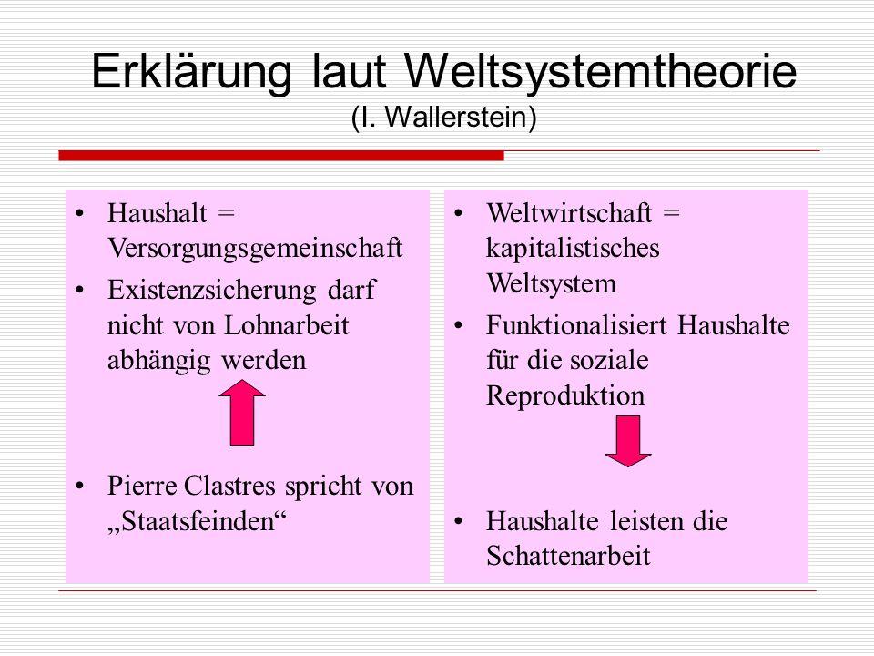 Erklärung laut Weltsystemtheorie (I. Wallerstein)