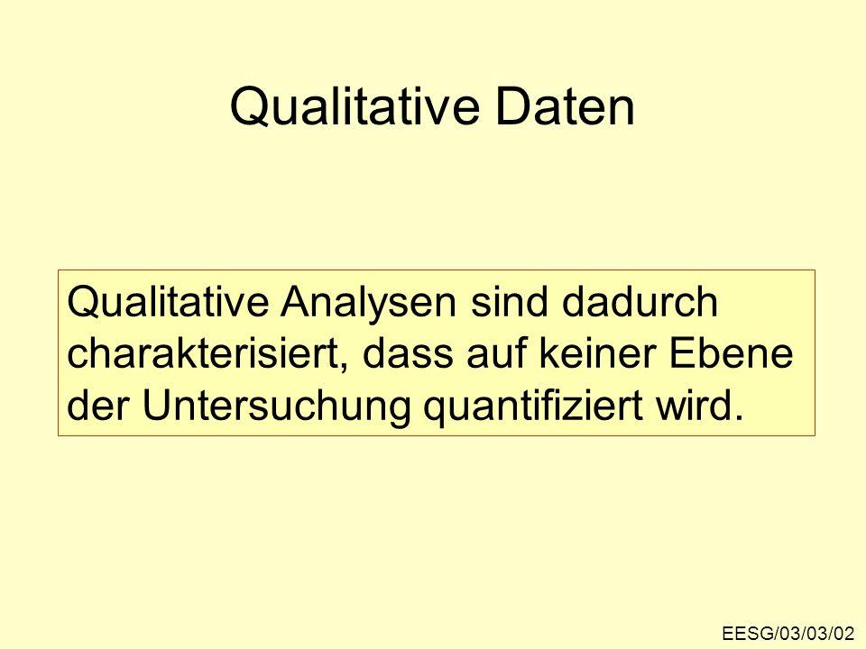 Qualitative Daten Qualitative Analysen sind dadurch