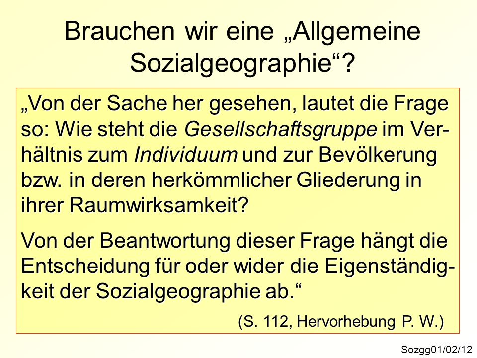 """Brauchen wir eine """"Allgemeine Sozialgeographie"""