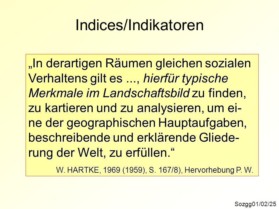 """Indices/Indikatoren """"In derartigen Räumen gleichen sozialen"""