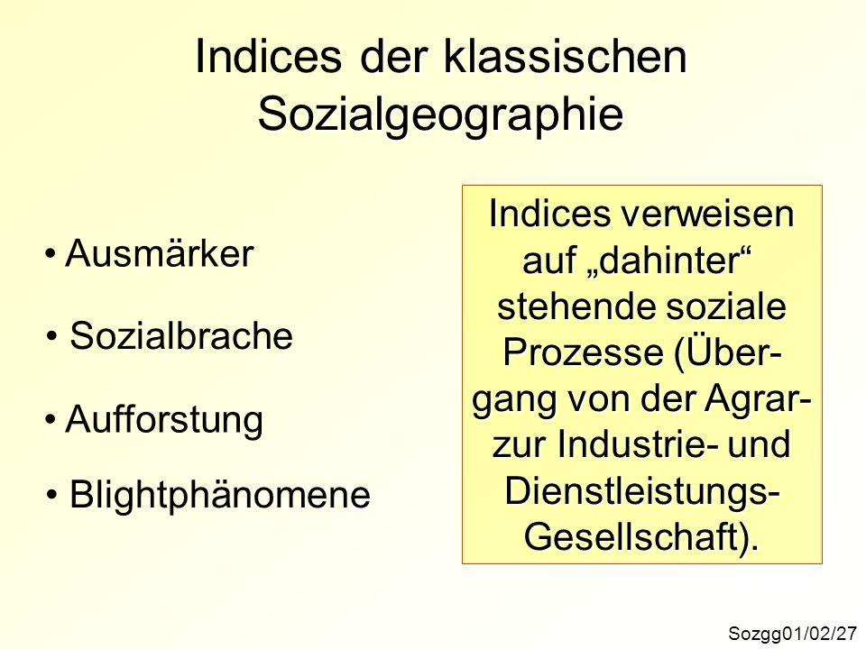Indices der klassischen Sozialgeographie